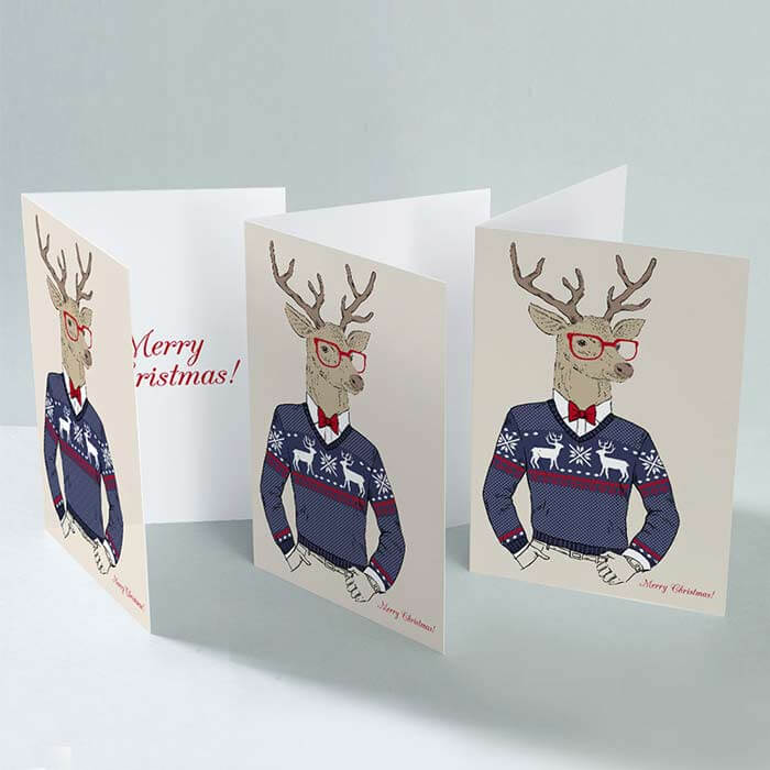 Christmas card printed both sides on a 300gsm weight card